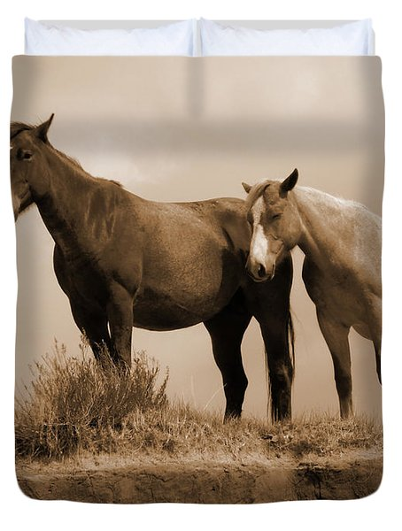 Wild Horses In Western Dakota Duvet Cover
