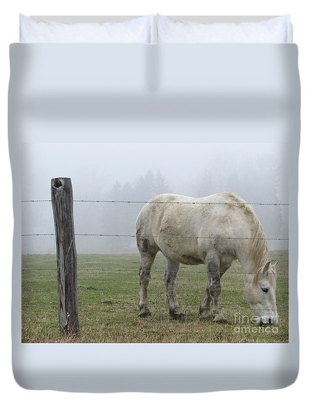 Duvet Cover featuring the photograph Wild Horses by Michael Krek