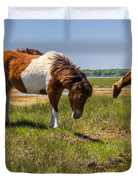 Wild Horses Of Assateague Duvet Cover
