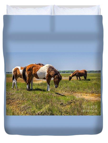 Wild Horses Of Assateague Duvet Cover