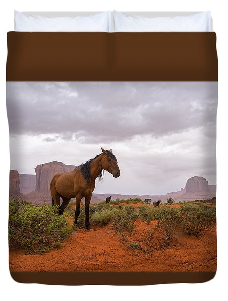 Wild Horses Of Monument Valley Duvet Cover by Brad Scott