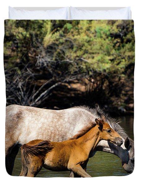 Wild Horses On The Salt River Duvet Cover