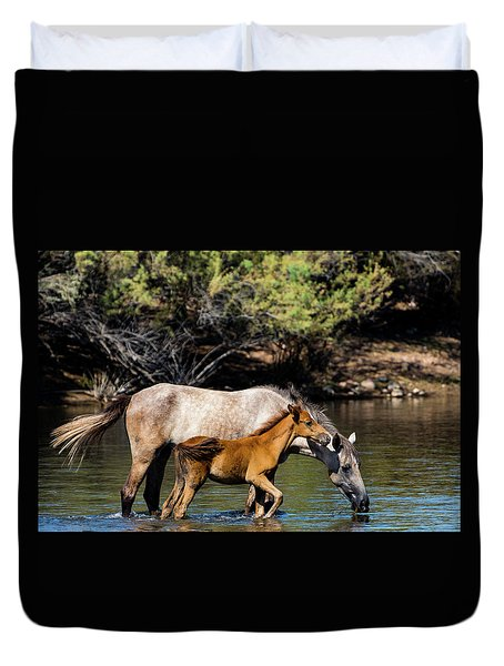 Wild Horses On The Salt River Duvet Cover