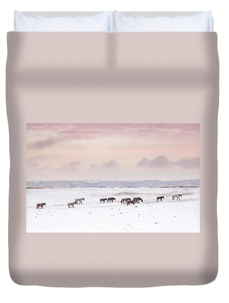 Wild Horses Out West Duvet Cover