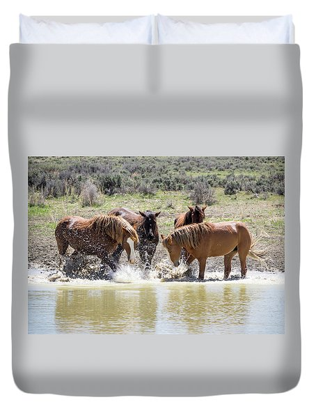 Wild Mustang Stallions Playing In The Water - Sand Wash Basin Duvet Cover