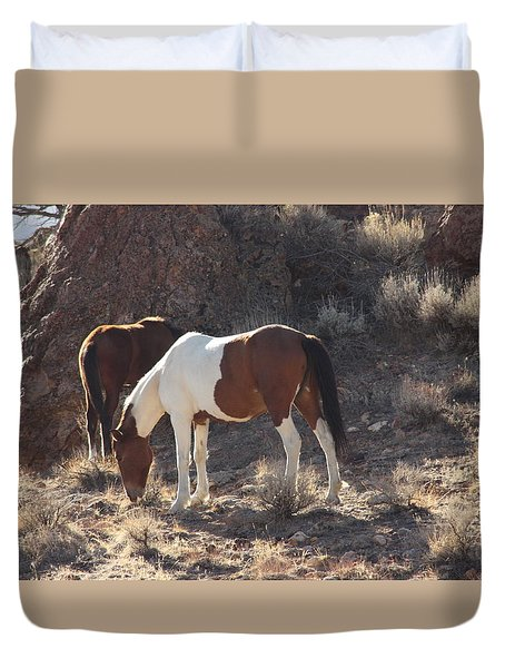 Duvet Cover featuring the photograph Wild Horses by Robin Regan