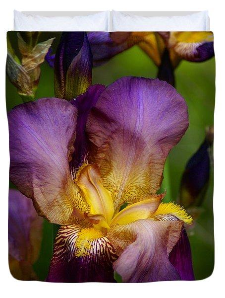 Duvet Cover featuring the photograph Wild Iris by Ben Upham III