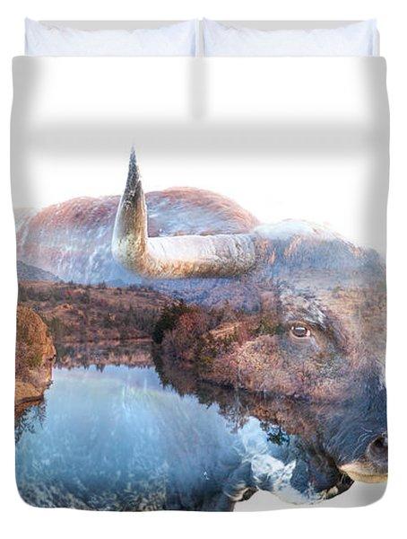 Wild Longhorn Bull And Lake Double Exposure Duvet Cover