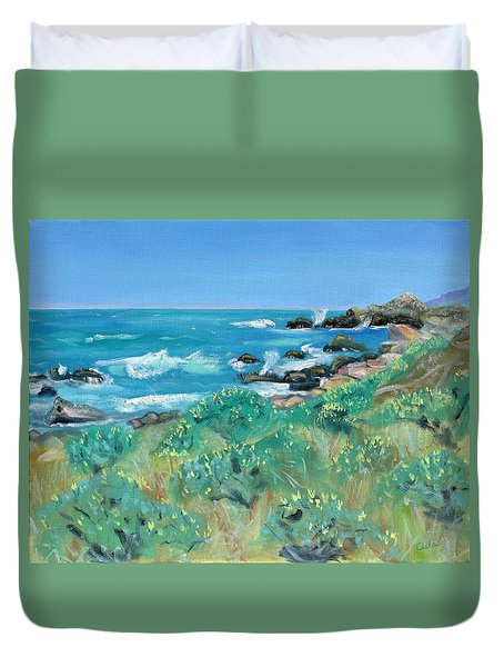 Wild Lupin At Gerstle Cove Park In May Duvet Cover