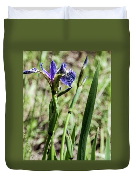 Duvet Cover featuring the photograph Wild Maine Iris by Daniel Hebard