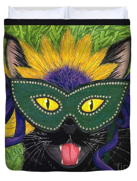 Wild Mardi Gras Cat Duvet Cover by Carrie Hawks