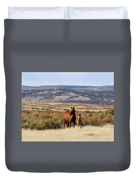Duvet Cover featuring the digital art Wild Mare With Young Foal In Sand Wash Basin by Nadja Rider