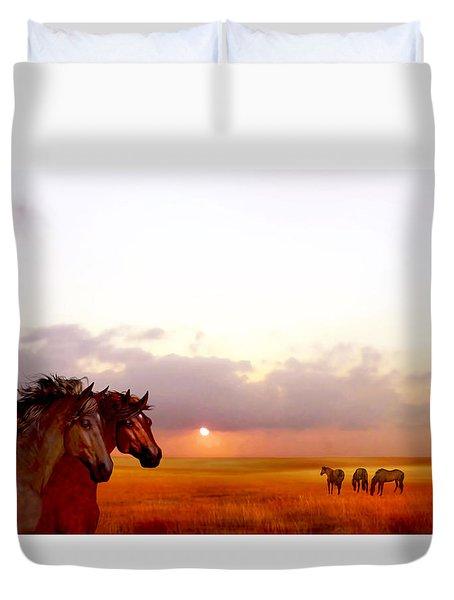 Wild Moorland Ponies Duvet Cover