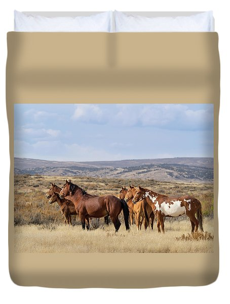 Wild Mustang Family Band In Sand Wash Basin Duvet Cover
