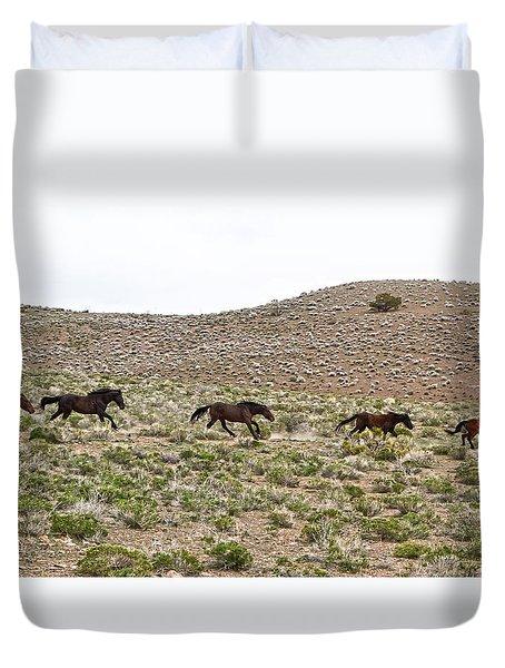 Wild Mustang Herd Running Duvet Cover