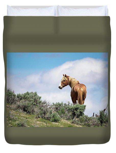 Wild Mustang Stallion Of Sand Wash Basin Duvet Cover