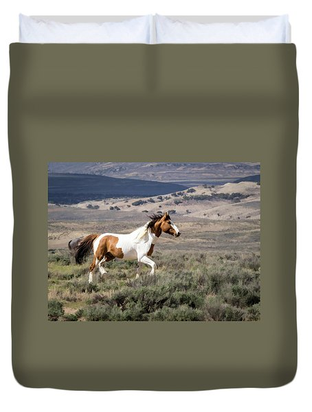 Duvet Cover featuring the digital art Wild Mustang Stallion On The Move In Sand Wash Basin by Nadja Rider