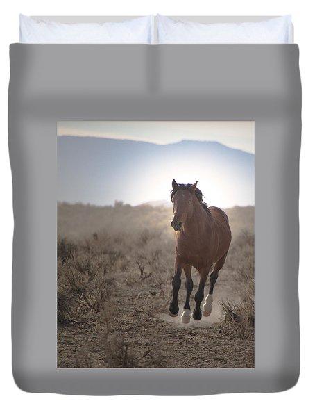 Wild Mustang Stallion Running Duvet Cover