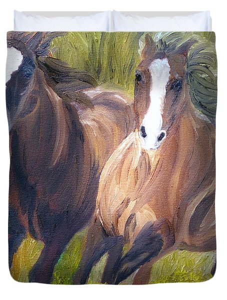Wild Mustangs Duvet Cover by Michael Lee