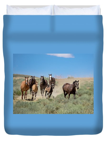 wild mustangs on the run to the water hole in Sand Wash Basin Duvet Cover