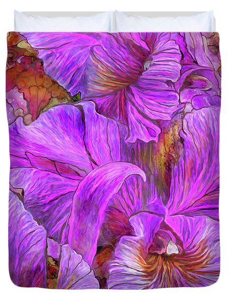 Duvet Cover featuring the mixed media Wild Orchids by Carol Cavalaris