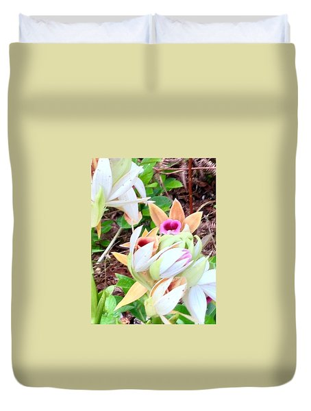 Wild Orchids In Pastel Duvet Cover