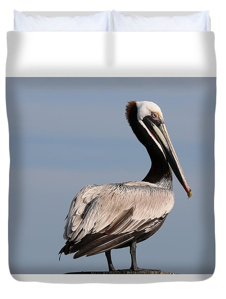 Duvet Cover featuring the photograph Wild Pelican - 2  by Christy Pooschke