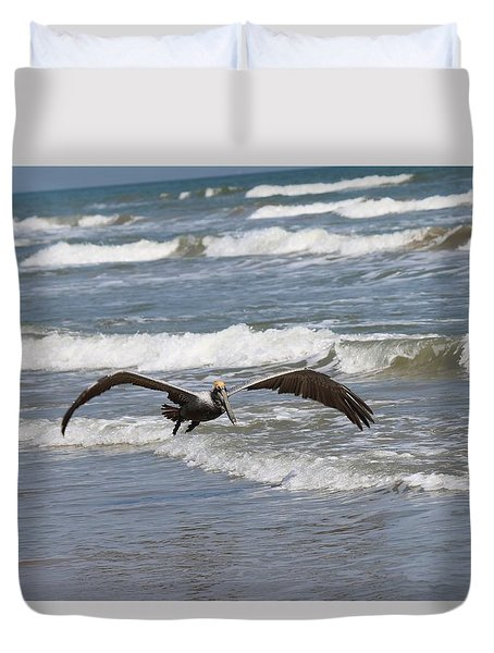 Wild Pelican In Flight  Duvet Cover