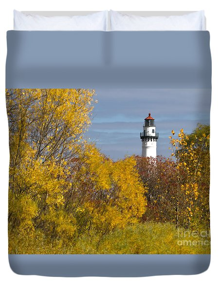 Wind Point Lighthouse In Fall Duvet Cover
