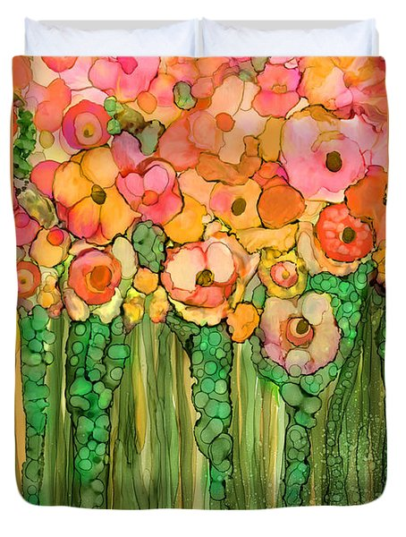 Duvet Cover featuring the mixed media Wild Poppy Garden - Gold by Carol Cavalaris