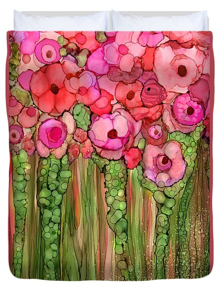 Duvet Cover featuring the mixed media Wild Poppy Garden - Pink by Carol Cavalaris