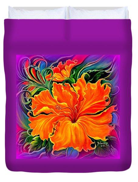 Wild Purple Hibiscus Duvet Cover by Yolanda Rodriguez