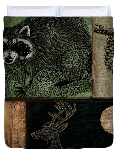Wild Racoon And Deer Patchwork Duvet Cover