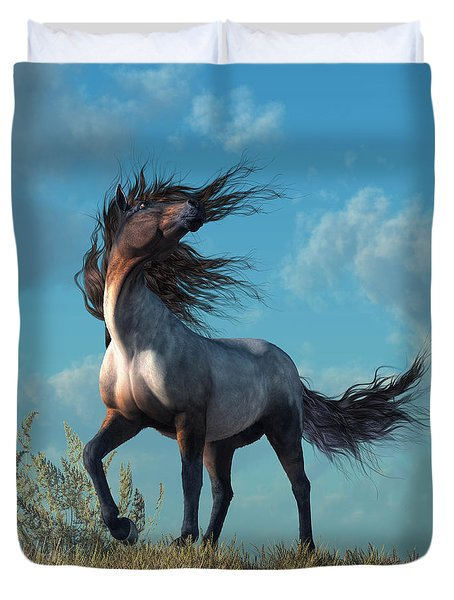Duvet Cover featuring the digital art Wild Roan by Daniel Eskridge