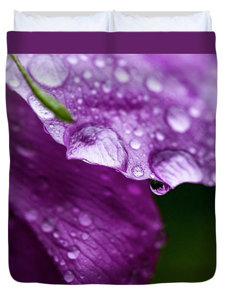 Duvet Cover featuring the photograph Wild Rose Droplet by Darcy Michaelchuk