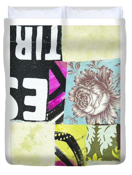 Duvet Cover featuring the mixed media Wild Rose by Elena Nosyreva