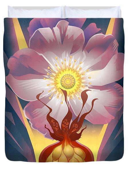 Wild Rose Floral Poster Duvet Cover