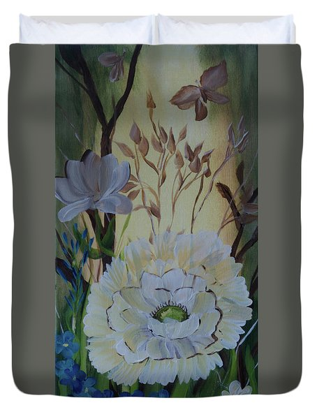 Wild Rose In The Forest Duvet Cover by Donna Brown