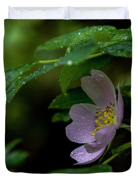 Duvet Cover featuring the photograph Wild Rose With Shelter by Darcy Michaelchuk