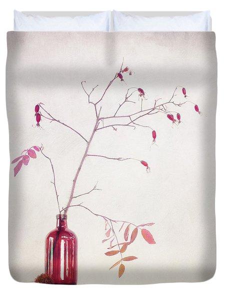 Wild Rosehips In A Bottle Duvet Cover