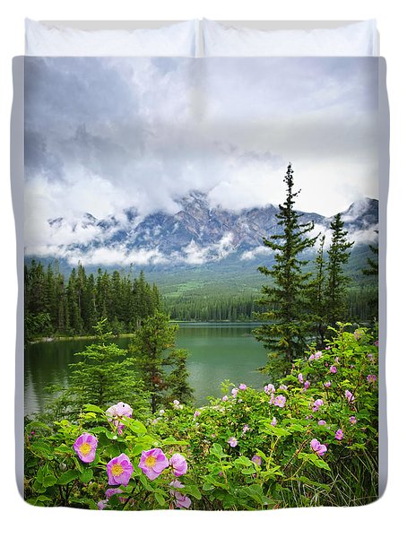 Wild Roses And Mountain Lake In Jasper National Park Duvet Cover by Elena Elisseeva