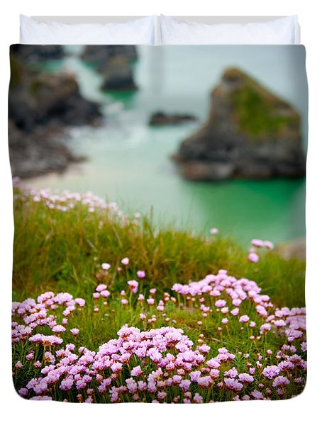 Wild Sea Pinks In Cornwall Duvet Cover