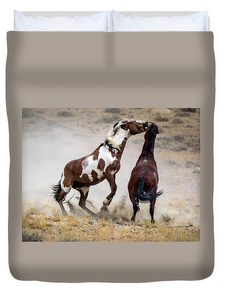 Wild Stallion Battle - Picasso And Dragon Duvet Cover by Nadja Rider