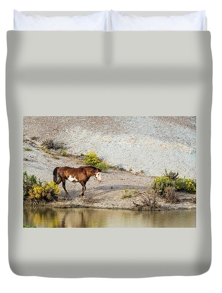 Duvet Cover featuring the photograph Wild Stallion Of Sand Wash Basin, Raindance by Nadja Rider