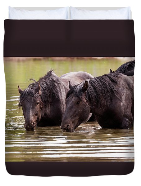 Wild Stallions At The Water Hole Duvet Cover