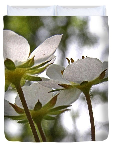 Duvet Cover featuring the photograph Wild Strawberry Blossoms by Angie Rea