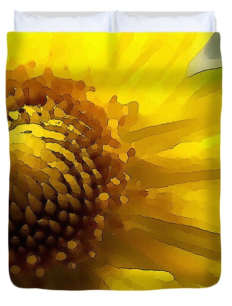 Duvet Cover featuring the digital art Wild Sunflower Up Close by Shelli Fitzpatrick