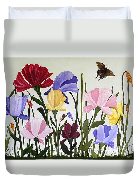 Duvet Cover featuring the painting Wild Tulips by Terri Mills