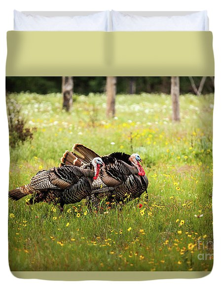 Wild Turkey's Dance Duvet Cover by Iris Greenwell