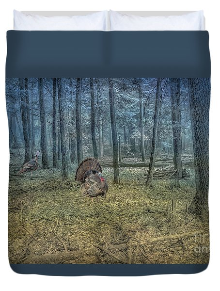 Wild Turkeys In Forest Version Two Duvet Cover by Randy Steele